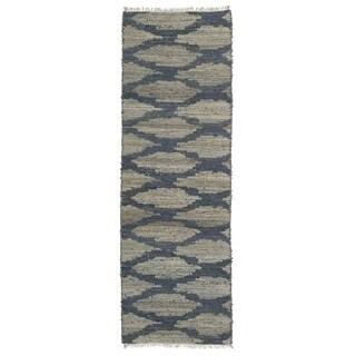 Handmade Natural Fiber Cayon Denim Lattice Rug