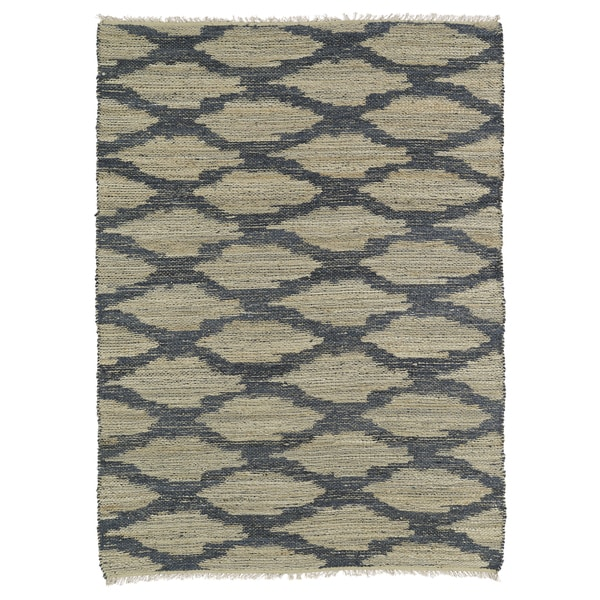 Handmade Natural Fiber Cayon Denim Lattice Rug (7'6 x 9'0 ...