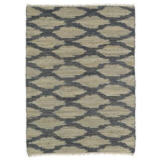 Handmade Natural Fiber Cayon Denim Lattice Rug (7'6 x 9'0)