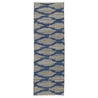 Handmade Natural Fiber Cayon Navy Lattice Rug (2' x 6')