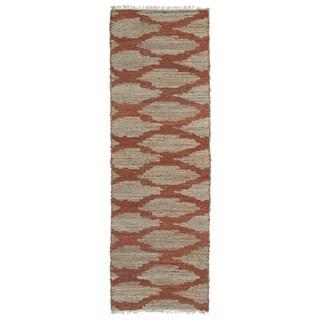 Handmade Natural Fiber Cayon Paprika Lattice Rug (2'6 x 8'0)