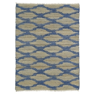 Handmade Natural Fiber Cayon Navy Lattice Rug (8'0 x 11'0)