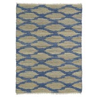 Handmade Natural Fiber Cayon Navy Lattice Rug