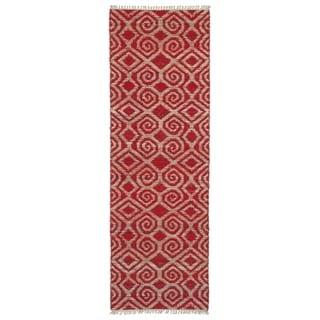 Handmade Natural Fiber Cayon Red Diamonds Rug (2' x 6')