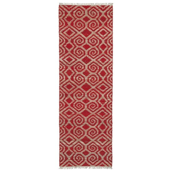 Handmade Natural Fiber Cayon Red Diamonds Rug (2'6 x 8'0)