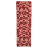 Handmade Natural Fiber Cayon Red Diamonds Rug