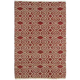 Handmade Natural Fiber Cayon Red Diamonds Rug (7'6 x 9'0)