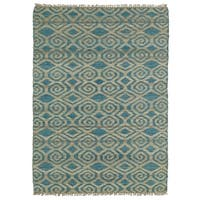 Handmade Natural Fiber Canyon Teal Diamonds Rug