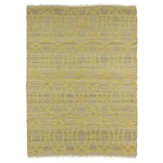 Handmade Natural Fiber Cayon Yellow Circles Rug (3'6 x 5'6)