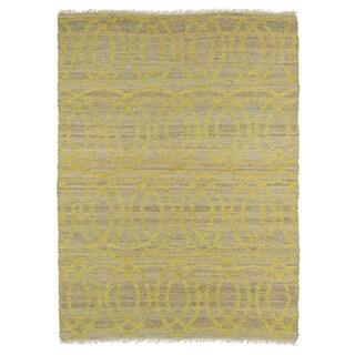 Handmade Natural Fiber Cayon Yellow Circles Rug (7'6 x 9'0)