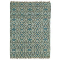 Handmade Natural Fiber Cayon Teal Diamonds Rug (5'0 x 7'9)