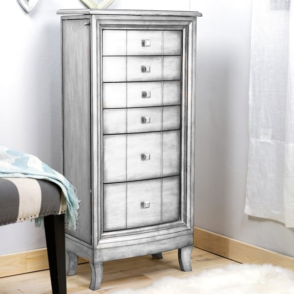 Superior Hives U0026amp; Honey Natalie Metallic Silver Freestanding Jewelry Armoire