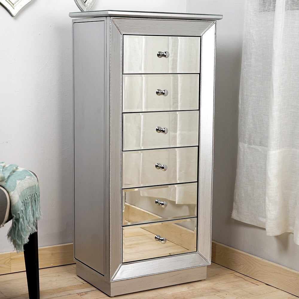 Silver Leaf And Mirror Jewelry Armoire