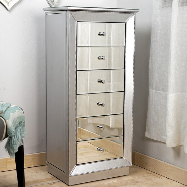 Hives Honey Mia Silver Leaf and Mirror Jewelry Armoire Free