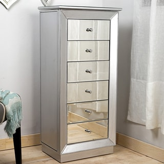 Hives & Honey 'Mia' Silver Mirrored Jewelry Armoire