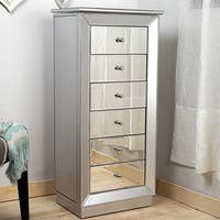 Hives & Honey 'Mia' Silver Leaf and Mirror Jewelry Armoire