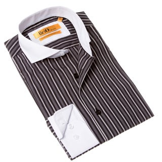 Brio Milano Men's Contemporary Fit Black/ Grey Striped Shirt