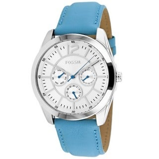 Fossil Women's BQ1456 'Classic' Chronograph Blue Leather Watch
