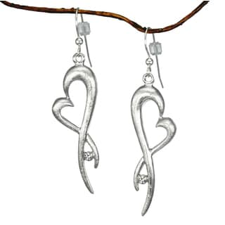 Jewelry by Dawn Abstract Pewter Heart and Rhinestone Dangle Earrings