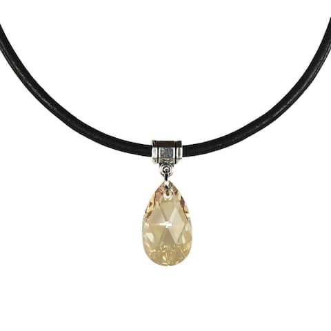 Handmade Jewelry by Dawn Golden Shadow Crystal Pear Leather Necklace (USA)