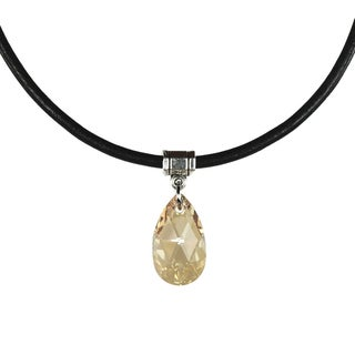Jewelry by Dawn Pear-cut Golden Shadow Crystal Greek Leather Necklace