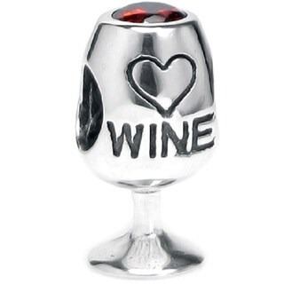 Queenberry Sterling Silver Red Crystal Wine Lover Cup European Bead Charm