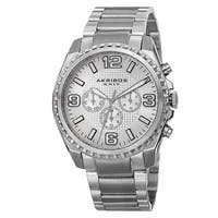 Akribos XXIV Men's Swiss Quartz Multifunction Dual Time Stainless Steel Silver-Tone Bracelet Watch