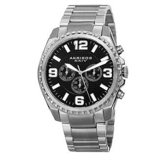 Akribos XXIV Men's Swiss Quartz Multifunction Dual Time Stainless Steel Silver-Tone Bracelet Watch