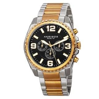 Akribos XXIV Men's Swiss Quartz Multifunction Dual Time Stainless Steel Two-Tone Bracelet Watch