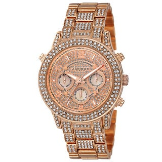 Akribos XXIV Dazzling Women's Swiss Quartz Dual Time Crystal-Accented Rose-Tone Bracelet Watch