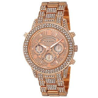Akribos XXIV Dazzling Women's Swiss Quartz Dual Time Crystal-Accented Rose-Tone Bracelet Watch with FREE GIFT