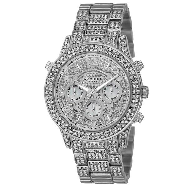 Akribos XXIV Dazzling Women's Swiss Quartz Dual Time Crystal-Accented Silver-Tone Bracelet Watch