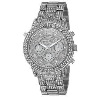 Akribos XXIV Dazzling Women's Swiss Quartz Dual Time Crystal-Accented Silver-Tone Bracelet Watch with FREE GIFT|https://ak1.ostkcdn.com/images/products/9914906/P17072776.jpg?impolicy=medium