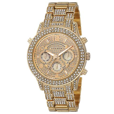 Akribos XXIV Dazzling Women's Swiss Quartz Dual Time Crystal-Accented Gold-Tone Bracelet Watch