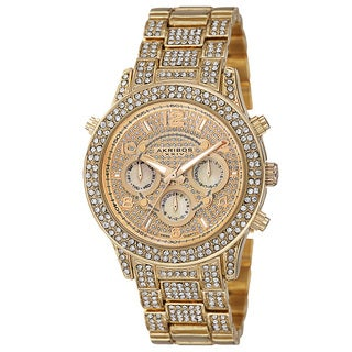 Akribos XXIV Dazzling Women's Swiss Quartz Dual Time Crystal-Accented Gold-Tone Bracelet Watch with FREE GIFT
