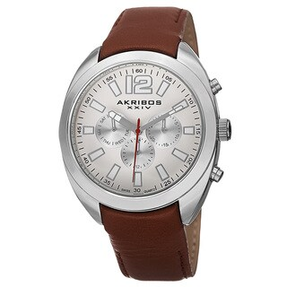 Akribos XXIV Men's Swiss Quartz Dual Time Multifunction Leather Silver-Tone Strap Watch