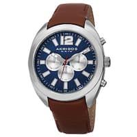 Akribos XXIV Men's Swiss Quartz Dual Time Multifunction Leather Blue Strap Watch