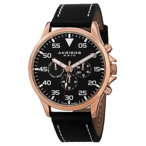 Akribos XXIV Men's Swiss Quartz Multifunction Dual Time Leather Rose-Tone Strap Watch