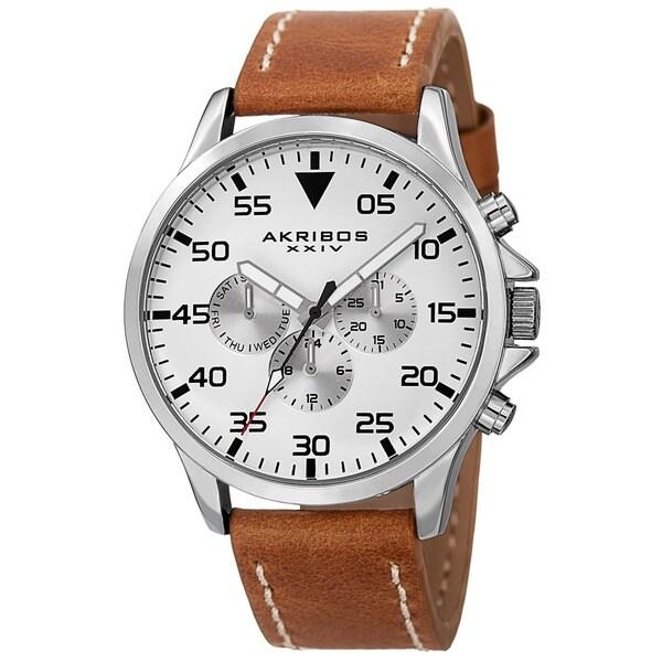 Akribos XXIV Men's Swiss Quartz Multifunction Dual Time Leather Silver-Tone Strap Watch
