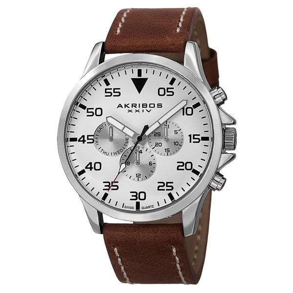 Akribos XXIV Men's Swiss Quartz Multifunction Dual Time Leather Strap Watch