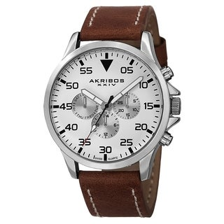 Akribos XXIV Men's Swiss Quartz Multifunction Dual Time Leather Silver-Tone Strap Watch