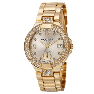 Akribos XXIV Women's Swiss Quartz Diamond Markers Dual Time Gold-Tone Bracelet Watch