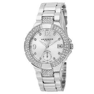 Akribos XXIV Women's Swiss Quartz Diamond Markers Dual Time Silver-Tone Bracelet Watch