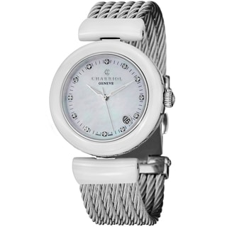 Charriol Women's AE33CW.561.003 'AEL' Mother of Pearl Diamond Dial White Ceramic Watch