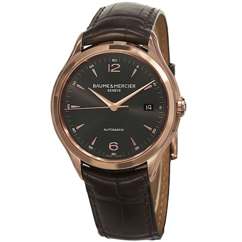 Baume & Mercier Men's MOA10059 'Clifton' 18K Rose Gold Automatic Brown Leather Watch