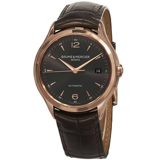 Baume & Mercier Men's 'Clifton' Grey Dial Brown Leather Strap Rose Gold Automatic Watch