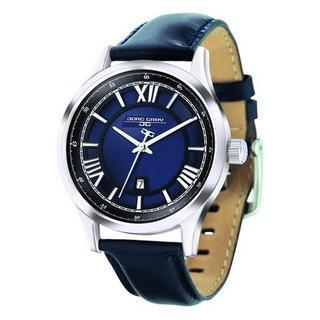 Jorg Gray Men's JG6800-13 Blue Leather Sivertone Stainless Steel Case Watch