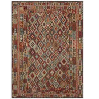 Herat Oriental Afghan Hand-woven Tribal Kilil Rust/ Green Wool Rug (8'4 x 11'3)