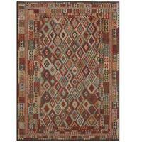 Handmade Herat Oriental Afghan Tribal Wool Kilim Rug  - 8'4 x 11'3 (Afghanistan)
