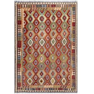 Herat Oriental Afghan Hand-woven Tribal Kilim Beige/ Gray Wool Rug (7'10 x 11'3)